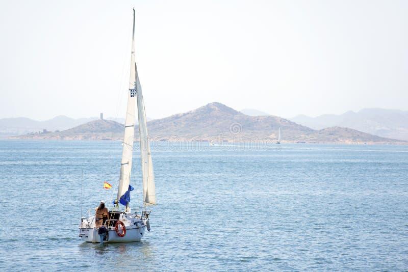 Murcia, Spain, August, 28, 2019: Family having fun in a yacht sailing through the mediterranean sea stock photos