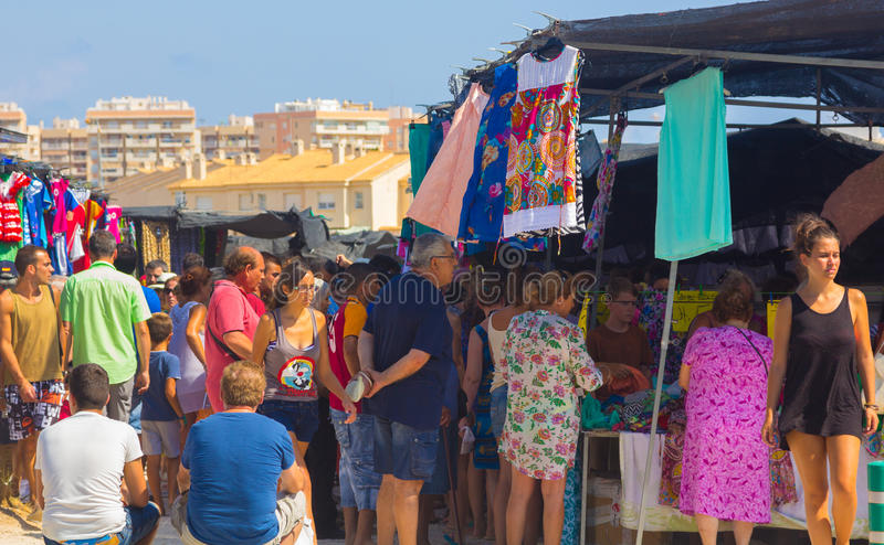 Murcia, Spain August 23, 2014: Market Street typical crowded sum stock images