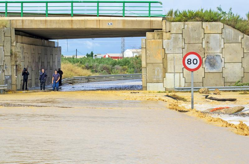 Murcia, Spain, September 13, 2019: Floods and damages caused by torrential rain on September 13th in Murcia, Spain stock images