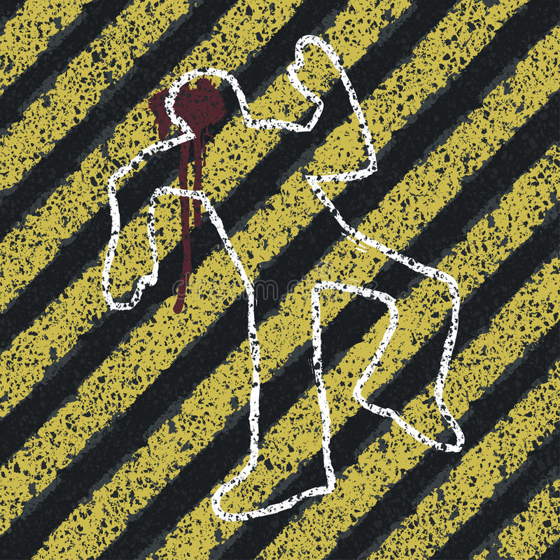 Murder Silhouette on yellow hazard lines. royalty free illustration