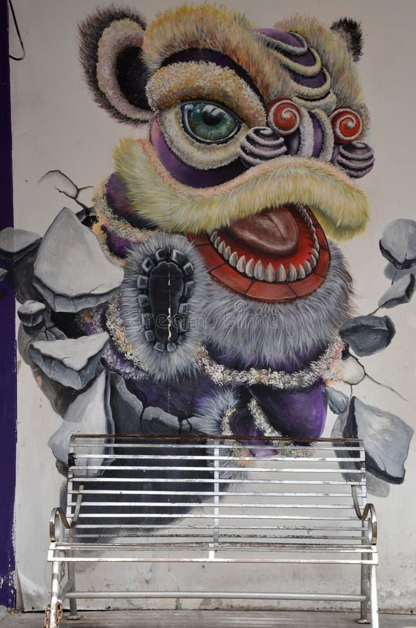 Mure grafittis da cabeça do leão, Penang Malásia ilustração do vetor