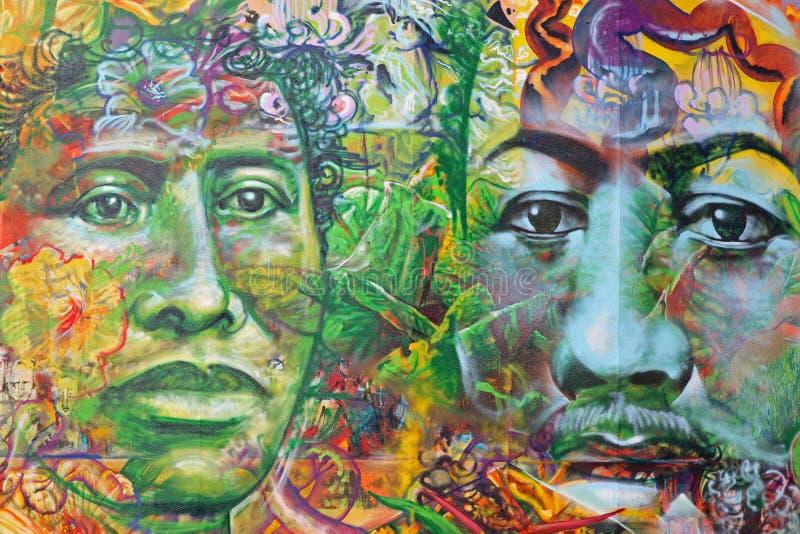 Mure a pintura mural da arte de homens havaianos em Honolulu, olá! foto de stock