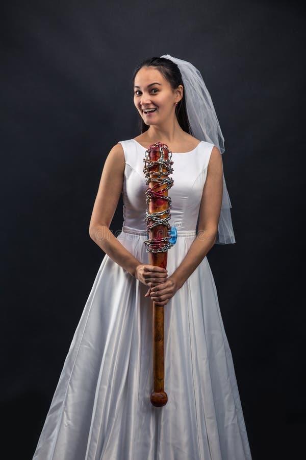 Murederer di serie in vestito da sposa fotografia stock libera da diritti