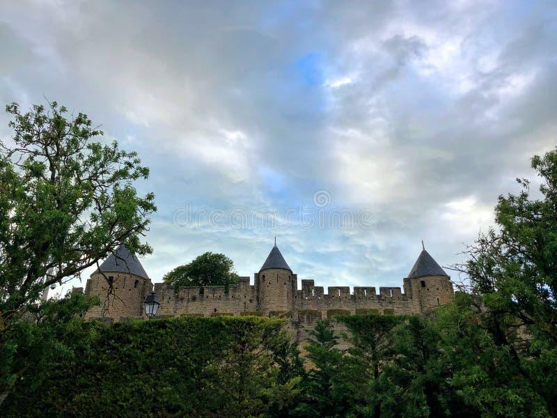Muren van Carcassonne stock foto