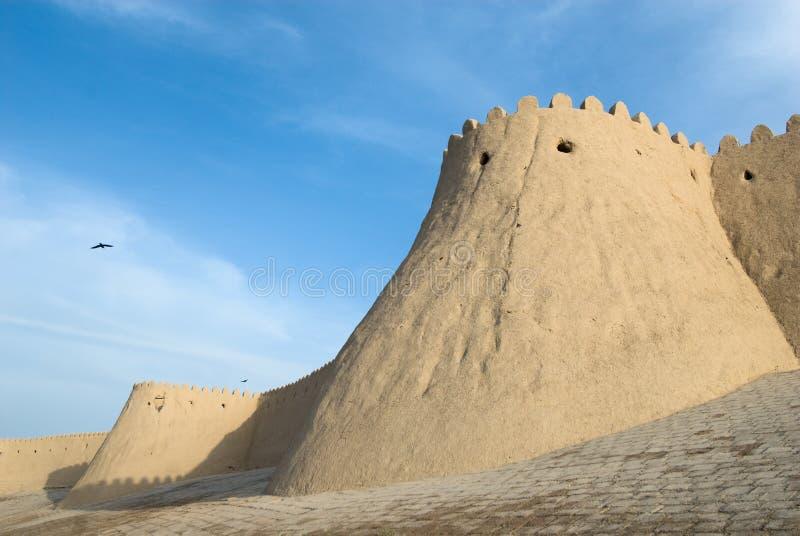 Muren van een oude stad van Khiva royalty-vrije stock foto's