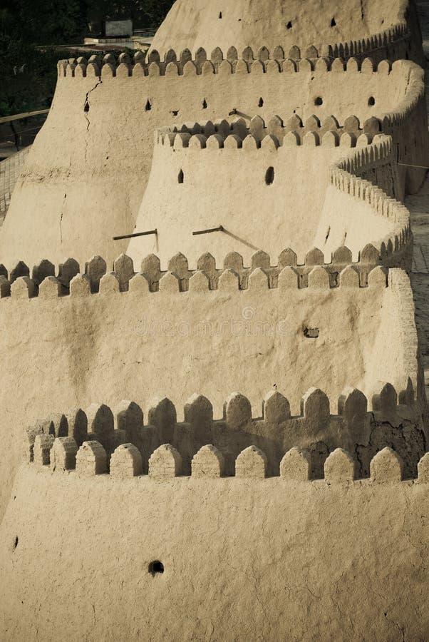 Muren van een oude stad van Khiva stock afbeeldingen