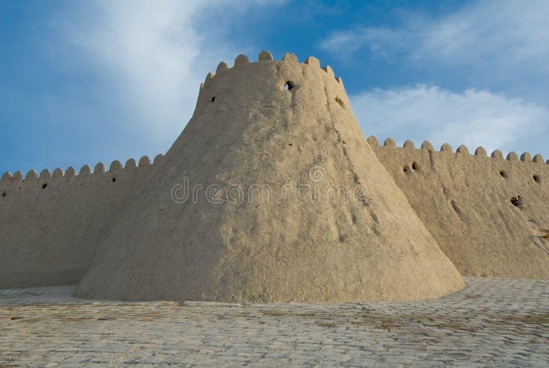 Muren van een oude stad van Khiva, Oezbekistan royalty-vrije stock afbeeldingen