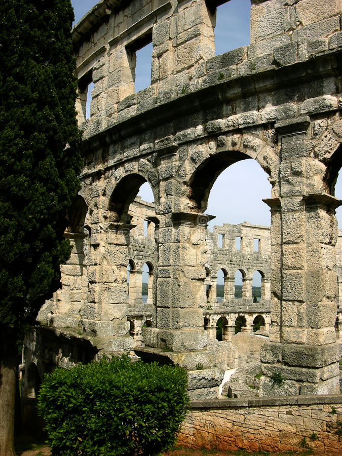 Muren van roman arena in Pula, Kroatië royalty-vrije stock fotografie