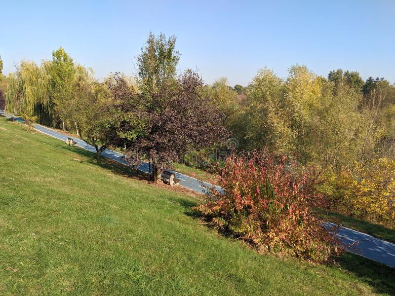 Mures river and a bicycle trail - Arad, Romania. Mures river and a bicycle trail on a sunny autumn day - Arad, Romania royalty free stock image