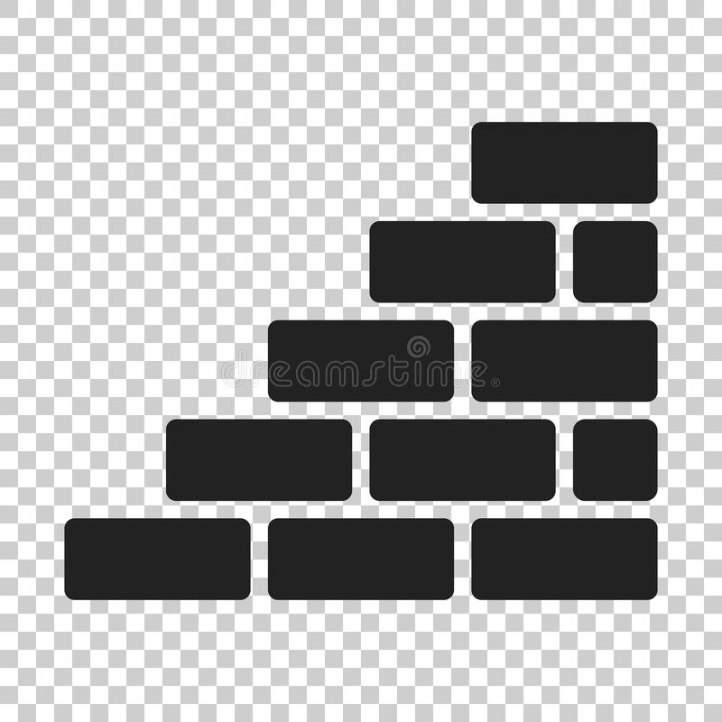 Murez l'icône de brique dans le style plat sur le fond d'isolement W illustration stock