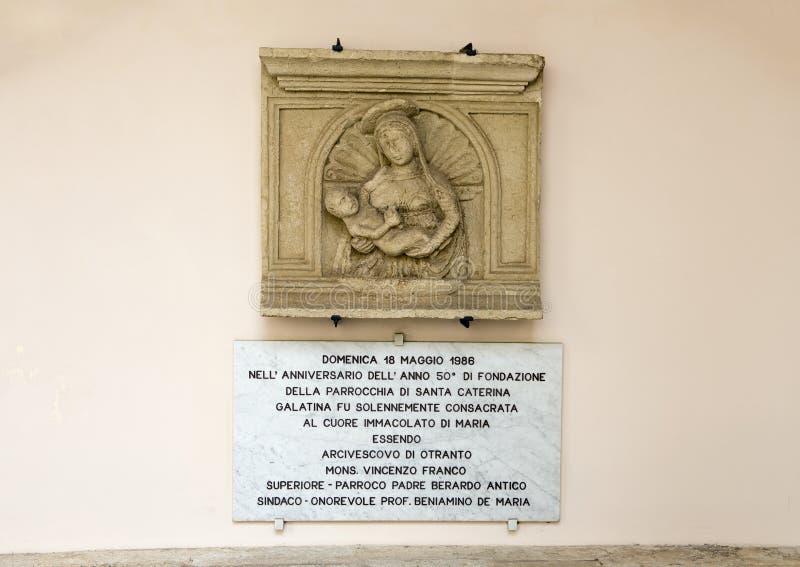 Murez le scupture de soulagement de Madonna et de l'enfant, ` Alexandrie, Galatina, Italie de Santa Caterina d de Di de basilique photographie stock