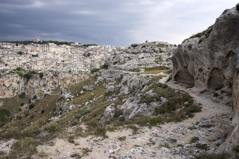 The murgia national park. View of the old town of matera, also called sassi di matera, from the murgia national park stock images