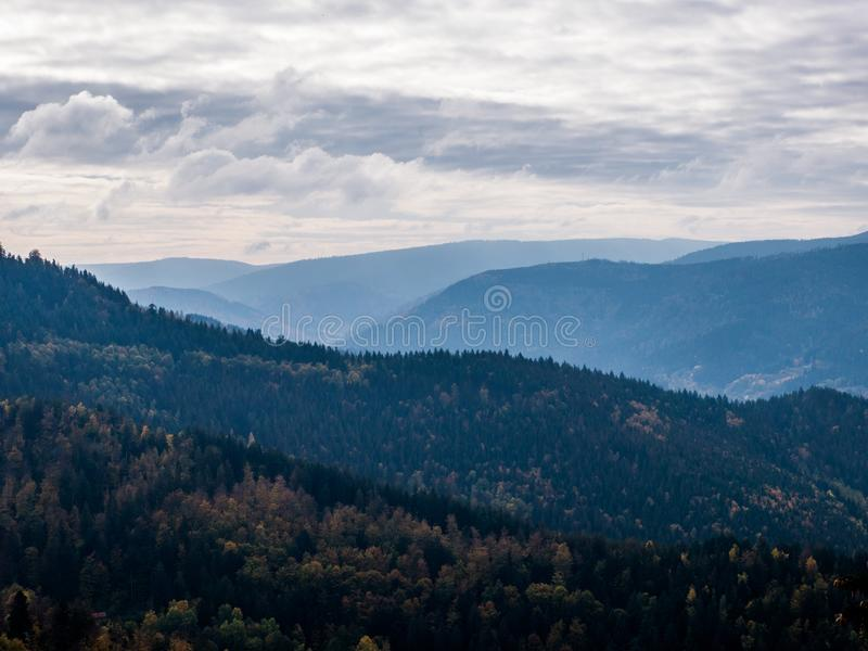 Murgtal landscape in Forbach with blue tint. Black Forest, Germany royalty free stock photos