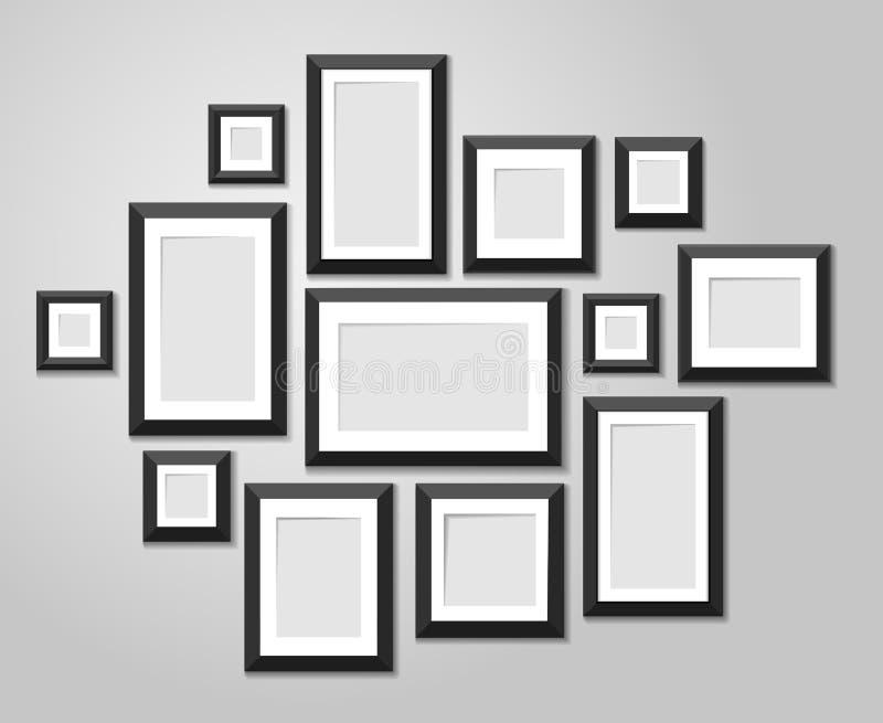 Muri i modelli della cornice isolati su fondo bianco Strutture in bianco della foto con il vettore dei confini e dell'ombra illustrazione di stock