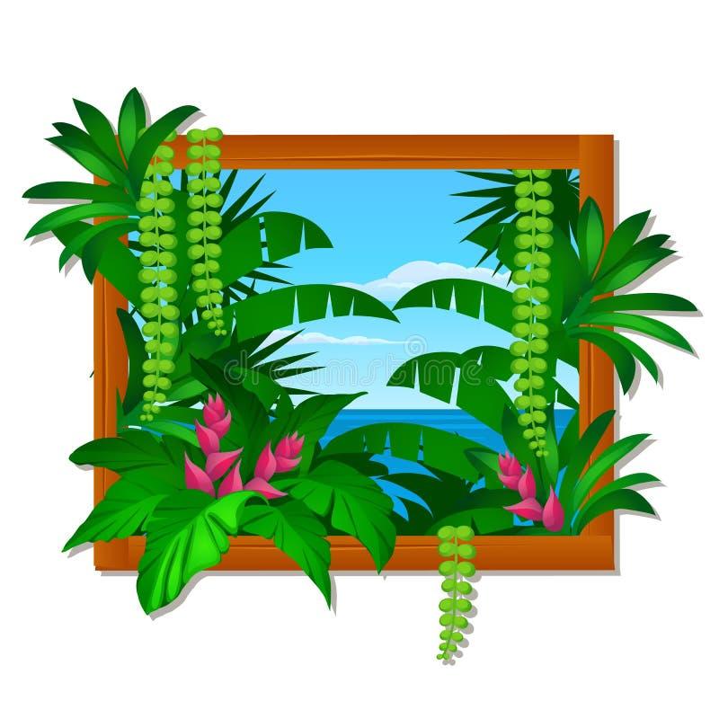 Muri la decorazione nel telaio di legno con gli alberi ed il mare tropicali ed il cielo blu nei precedenti Idea dell'interno in o royalty illustrazione gratis