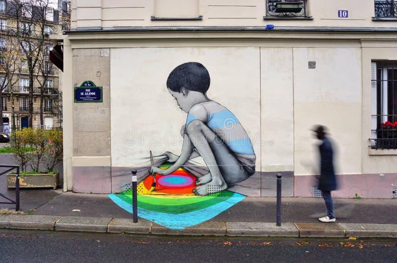 Muri la pittura murala dall'artista francese famoso Seth Globepainter della via a Parigi immagini stock libere da diritti