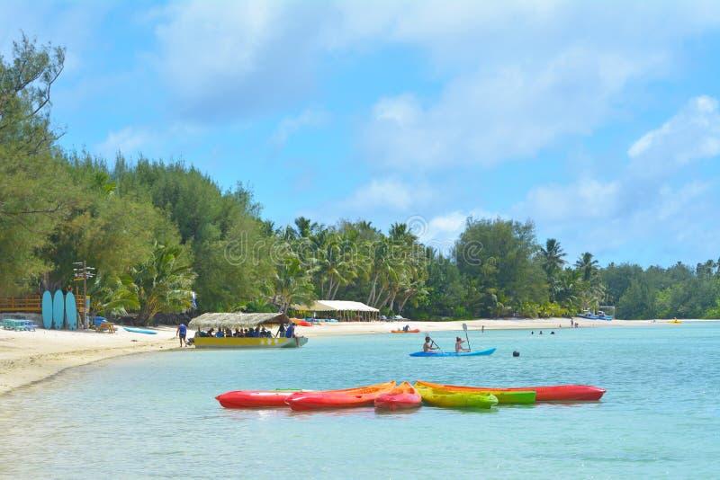 Muri lagunRarotonga kock Islands arkivbild