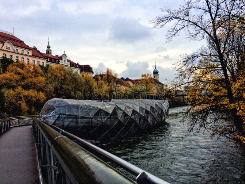 Murinsel in Graz - Österreich lizenzfreies stockfoto