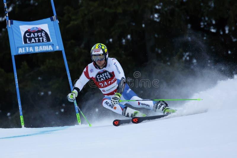 MURISIER Justin dans la tasse Men's Gian d'Audi Fis Alpine Skiing World photo stock