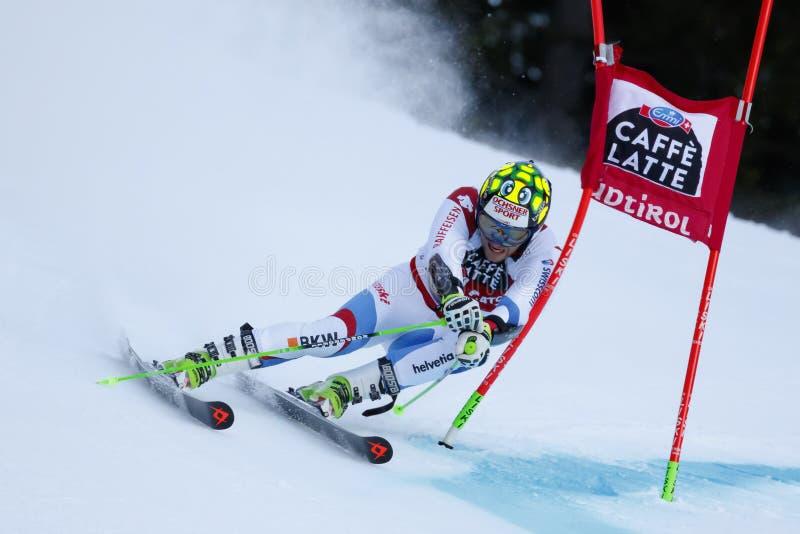 MURISIER Justin dans la tasse Men's Gian d'Audi Fis Alpine Skiing World photographie stock libre de droits