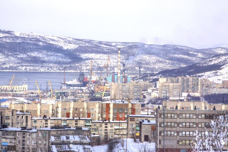 murmansk cityscape arkivfoton