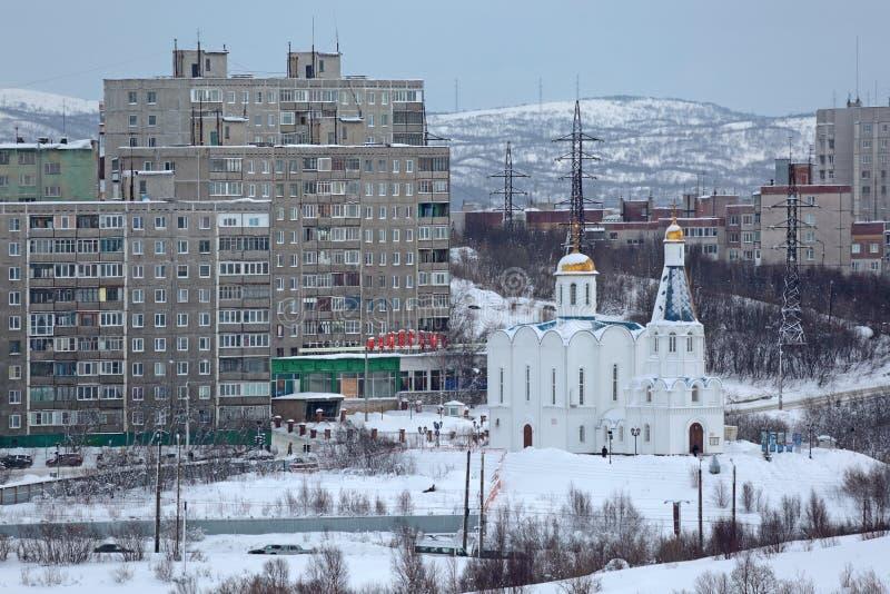 Murmansk cityscape royaltyfri fotografi