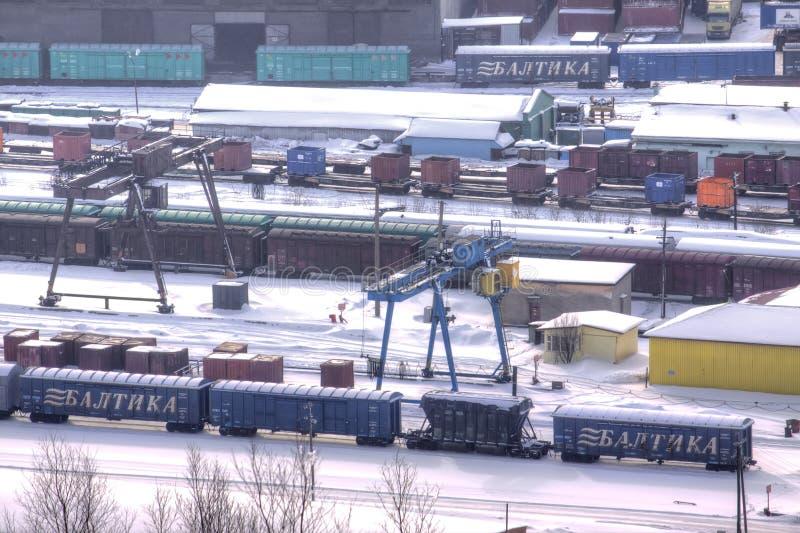 murmansk Frachtowa stacja kolejowa zdjęcie royalty free