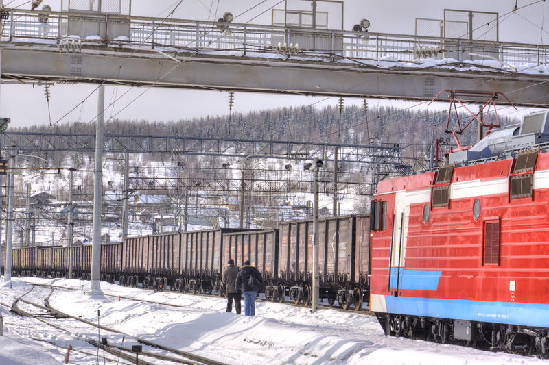 murmansk Handlarska stacja kolejowa zdjęcia royalty free