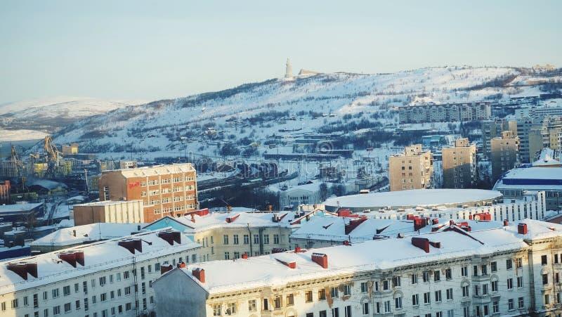 Murmansk miasta ptasiego oka widok zdjęcie royalty free
