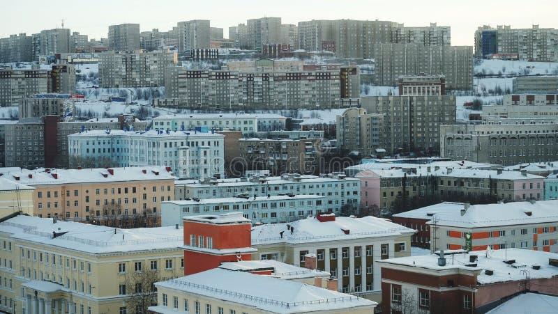 Murmansk miasta ptasiego oka widok fotografia royalty free
