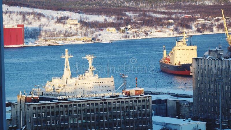 Murmansk miasta ptasiego oka widok obraz royalty free