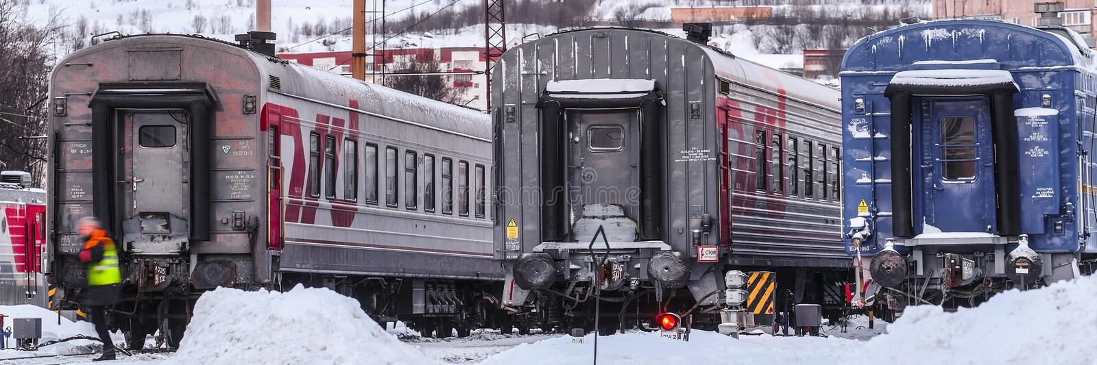 train on a parking in Murmansk stock images