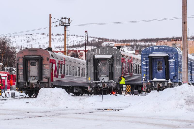train on a parking in Murmansk royalty free stock photo