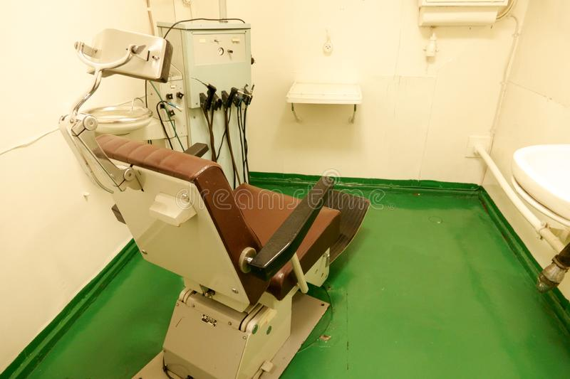 Murmansk, Russia jun 2019 The dental office aboard the world`s first nuclear power icebreaker Lenin royalty free stock photography