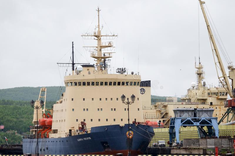 Murmansk, Russia June, 2019 Icebreaker Admiral Makarov in the dock of the seaport of the Kola Bay of the Barents Sea stock photos