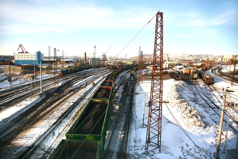 Murmansk stacja kolejowa w Rosja może być northernmost stacją kolejową fotografia stock