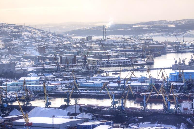 Murmansk, winter, snowfall. Sea Cargo Port royalty free stock photos