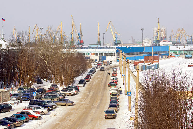 Murmansk, zafrachtowanie port zdjęcia stock