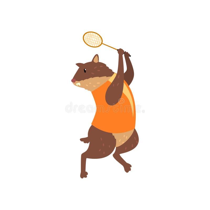 Murmeldjur på enhetlig spela badminton för sport, roligt sportive tecken för löst djur som gör sportvektorillustrationen på a vektor illustrationer