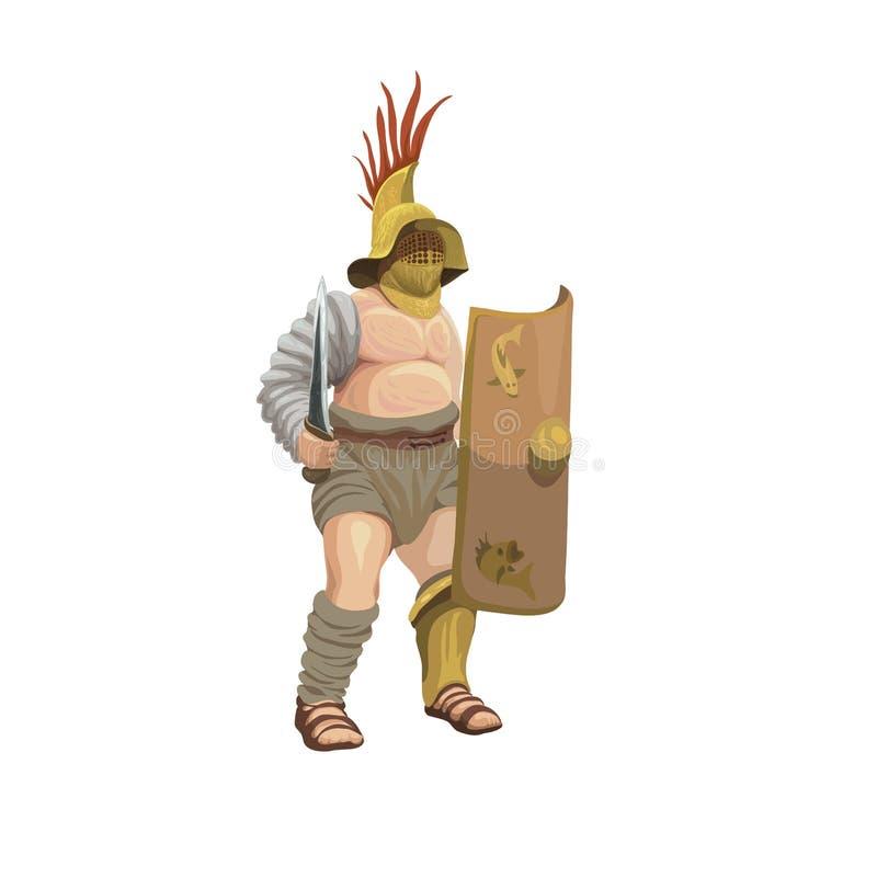Murmillo del gladiador, ejemplo ilustración del vector