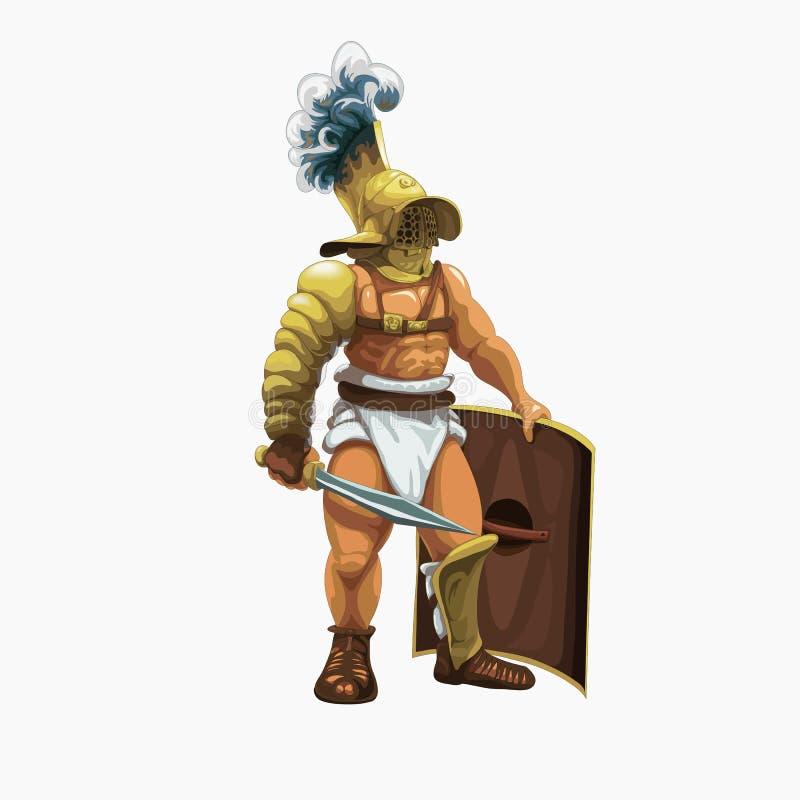Murmillo del gladiatore che si prepara per eseguire nell'arena illustrazione di stock