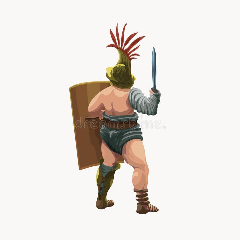 Murmillo del gladiatore, vista dalla parte posteriore illustrazione di stock
