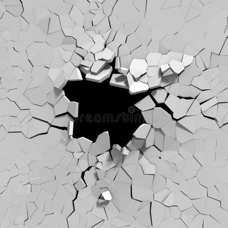 Muro de cemento agrietado con el agujero de bala CCB abstracto de la destrucción stock de ilustración