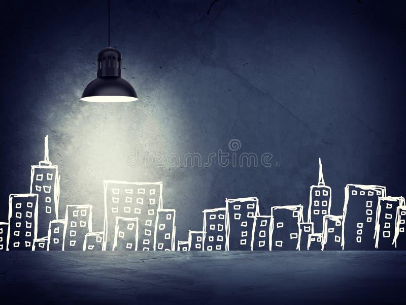 Muro de cemento con bosquejos de edificios izquierdo imagen de archivo libre de regalías