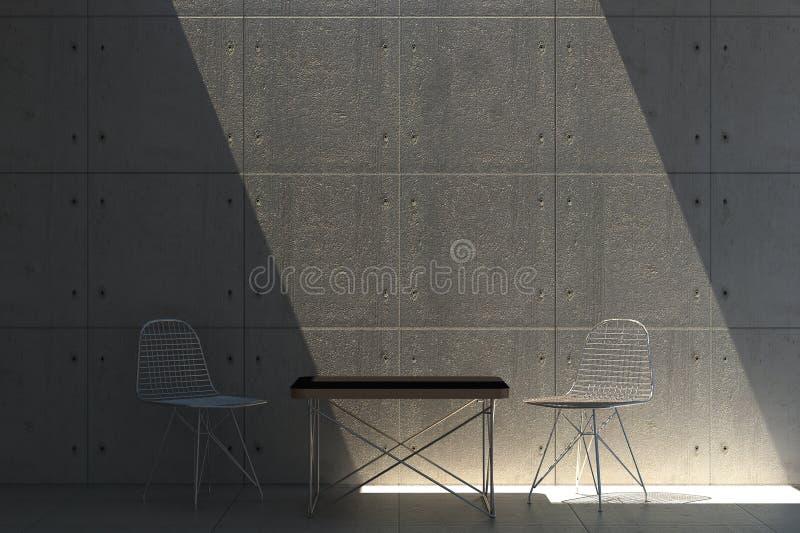 Muro de cemento con los muebles de Eames libre illustration
