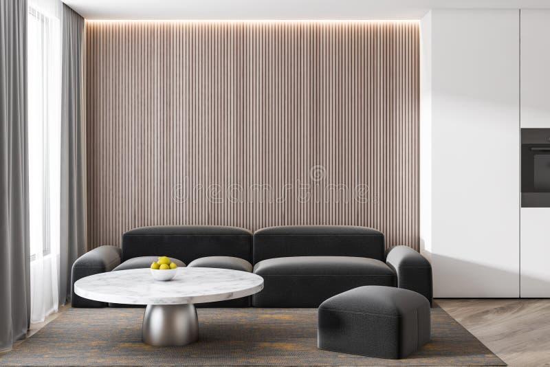 Muro de cemento gris en un interior precioso moderno del sofá de la sala de estar libre illustration