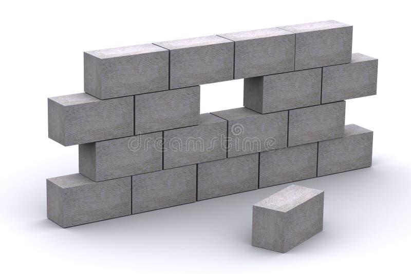 muro de cemento incompleto 3d libre illustration