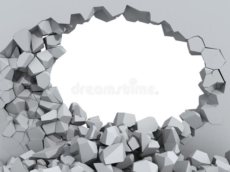 Muro de cemento que desmenuza con el agujero libre illustration