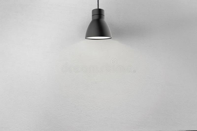 Muro de cemento y lámpara del techo stock de ilustración