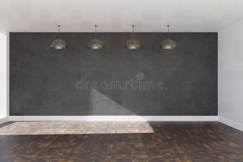 muro de cimento cinzento da rendição 3d com as lâmpadas estratificadas marrons do revestimento e do teto ilustração royalty free